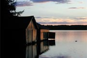 Boathouses at Dusk